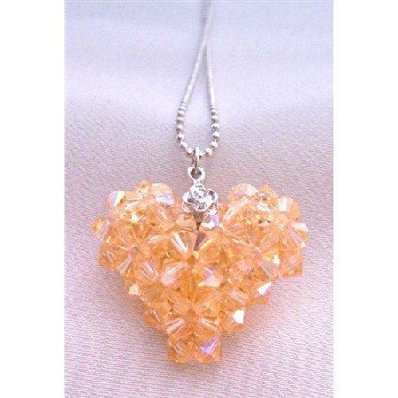 NSC673  Adorable Peach Swarovski Crystals Puffy Heart Handmade Puffy Heart Pendant Neckalce