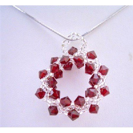 NSC672  Siam Red & Japanese Glass Beads Pendant New Pendant w/ Rhodium Silver Chain