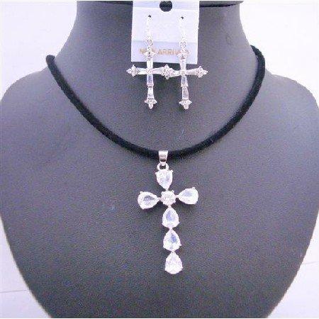 NSC573  Clear Crystals Cross Pendant In Black Chord w/ Cross Earrings Jewelry Set