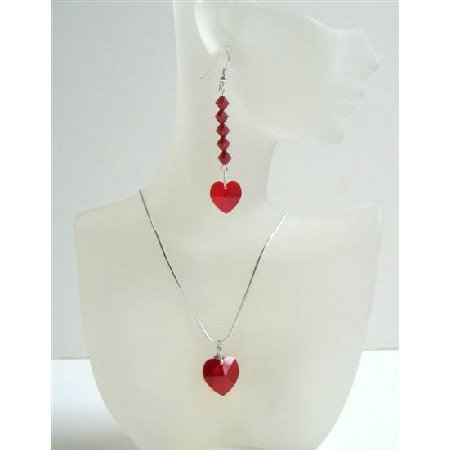 NSC529  Red Siam Crystals Heart Pendant & Earrings Genuine Swarovski Crystals Heart