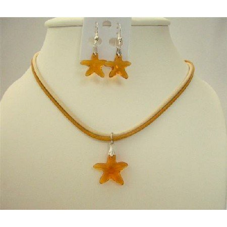 NSC466  Topaz Swarovski Crystals Star Fish Pendant Jewelry Set Genuine Swarovski Topaz Crystals