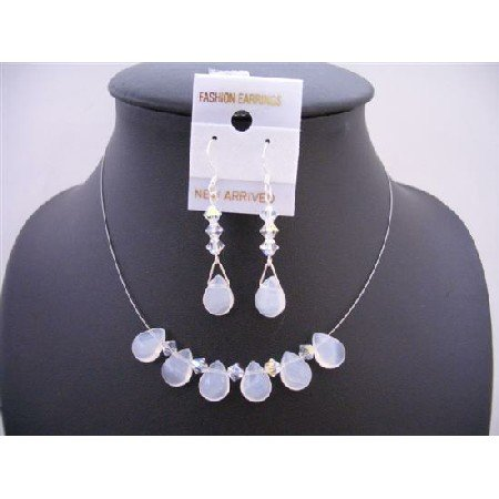 NSC514  Opal Teardrop Glass Beads Swarovski AB Crystals w/ Sterling Silver 925 Earrings Jewelry Set