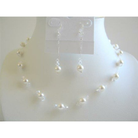 NSC557  Soothing Pure White Pearls Clear Crystals Jewelry Set Genuine Swarovski Pearls & Crystals
