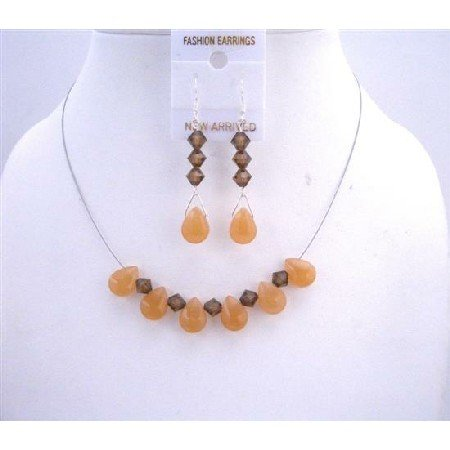 NSC513  Smoked Topaz Swarovski Crystals w/ Orange Teardrop Glass Beads Sterling Silver 925 Earrings