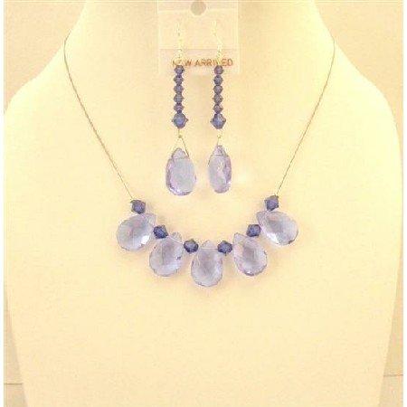NSC583  Purple Glass Teardrop Necklace Swarovski Purple Velvet Crystals Bridemaids Jewelry Set