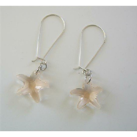 ERC382  Sterling Silver Golden Shadow Star Fish Crystals Hoop Earrings