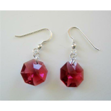 ERC385  Dark Siam Red Swarovski Octagon Crystals 15mm Multifaceted Crystals Sterling Silver Earrings