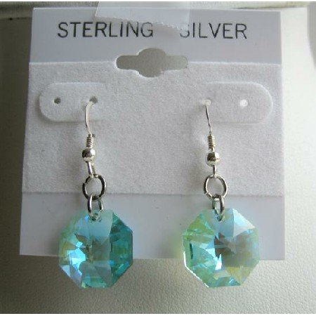 ERC309  Octagon Crystals Swarovski Aquamarine Multifaceted Bead Crystals & Sterling Silver Earrings