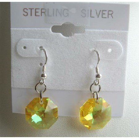 ERC307  Lime Octagon Crystals Earrings 15mm Swarovski Lime Crystals Sterling Silver Earrings