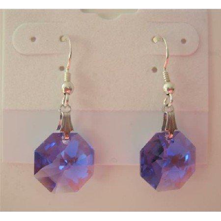 ERC288  TANZANITE OCTAGOn Swarovski Crystals Genuine Swarovski Crystals & Sterling Silver Earrings