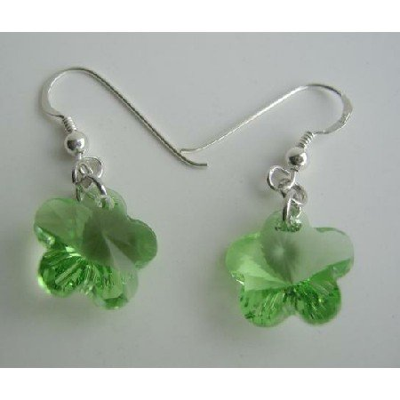 ERC201  Flower Crystals Sterling Silver Earrings Swarovski Peridot Crystals Flower Earrings