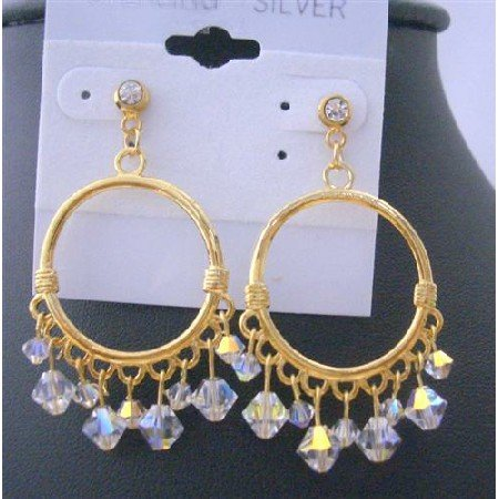 ERC301  Gold Hoop Earrings Swarovski AB Crystals w/ 22k Gold Plated Chandelier Earrings