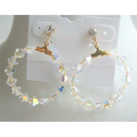 ERC308  22K Gold Plated Hoop AB Swarovski Crystals Earrings