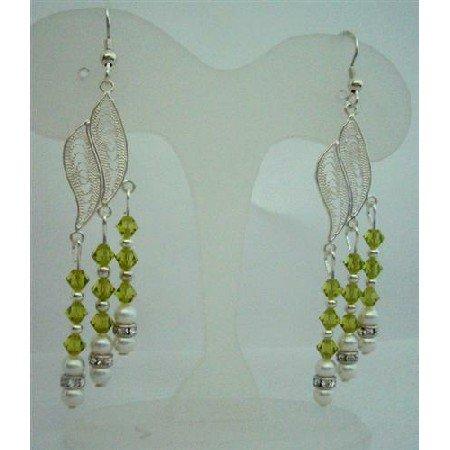 ERC272  Sterling Silver Chandelier Earrings w/ Genuine Swarovski Olivine Crystals