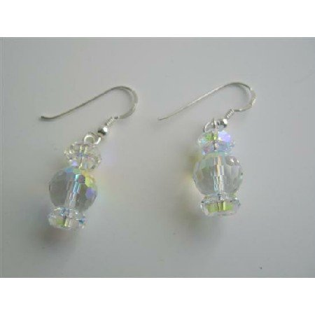 ERC245  AB Swarovski Crystals & AB Crystals Spacer Sterling Silver 92.5 Earrings Genuine Crystals