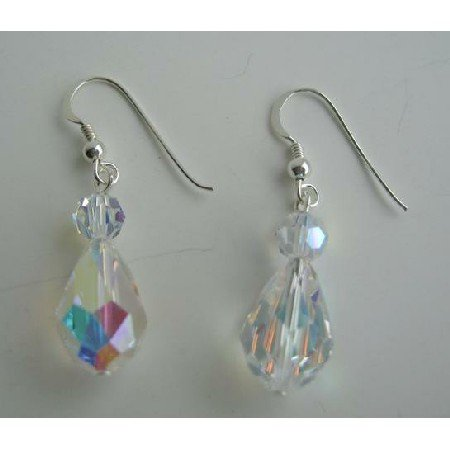 ERC205  Swarovski AB Crystals Earrings 20mm AB Crystals TearDrop Sterling Silver Earrings