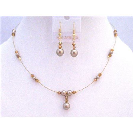 BRD879 Genuine Swarovski Copper Crystals Swarovski Bronze Pearls Necklace Set Bridemaids Jewelry Set