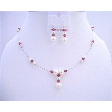 BRD629 Swarovski White Pearls & Crystals AB Ruby Swarovski Crystals Jewelry Set