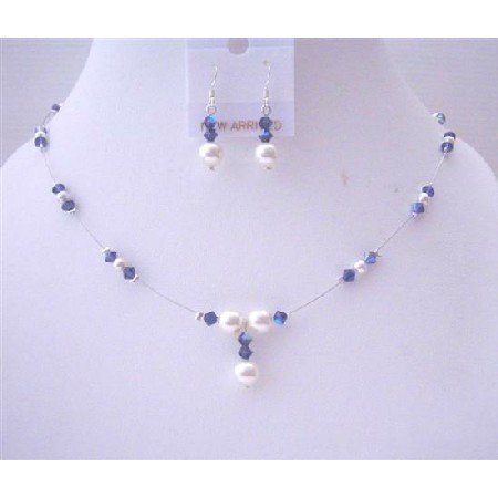 BRD525  Purple Voilet AB Crystals Jewelry Set w/ White Pearls Bridal Bridemaides Necklace Set