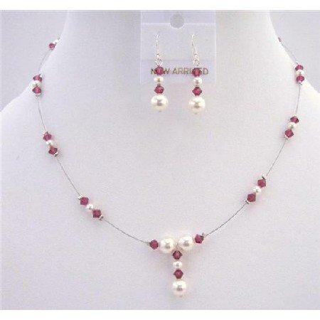 BRD695 Swarovski White Pearls & AB Ruby Swarovski Crystals Jewelry Set