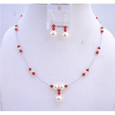 BRD624  Cream Pearls & Lite Siam Red Crystals White Pearls Handcrafted Jewelry Set