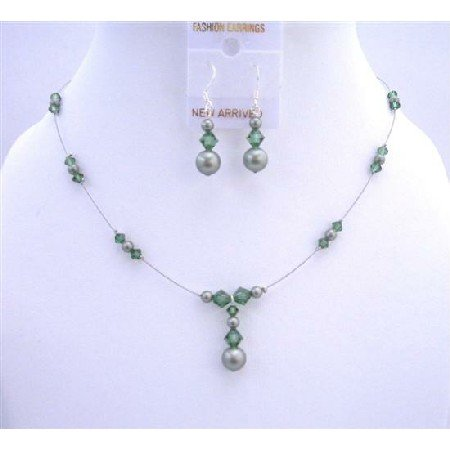 BRD634  Powder Green Pearls Turmarine Crystals Bridal Bridemaides Jewelry Set