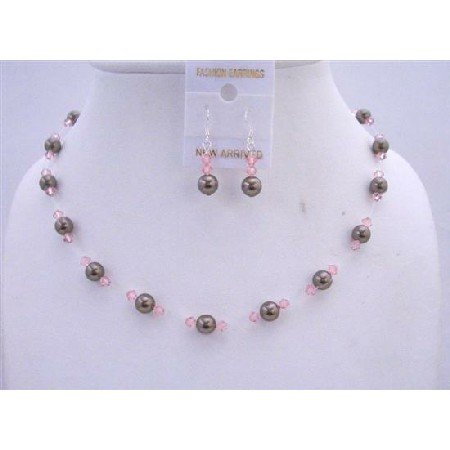BRD625  Chocolate Brown Pearls Swarovski Pink Crystals Wedding Jewelry Set