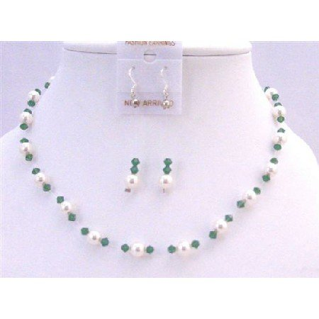 BRD832  Clover Green Crystals With White Pearls Swarovski Pearls & Crystals Necklace Set