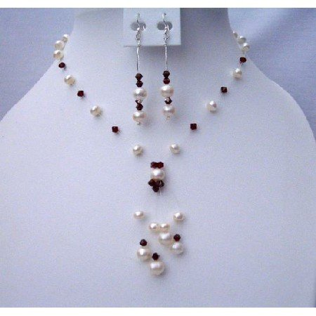 BRD371 Necklace Set Made Of Swarovski Dark Siam Red Crystals & Freshwater Pearls Jewelry