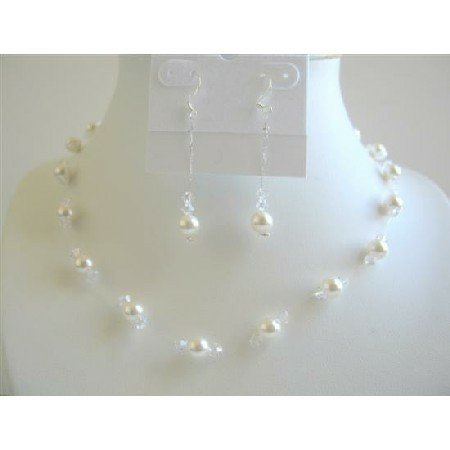 BRD636  White Pearls And Clear Crystals Necklace Set Bridal Bridemaides Wedding Jewelry Set