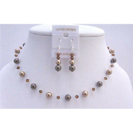 BRD864 Combo Bronze Pearls Brown Pearls & Smoked Topaz Crystals Handcrafted Jewelry Set