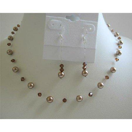 BRD638  Bronze Pearls Wedding Jewelry Set w/ Swarovski Smoked Topaz Crystals Necklace Set
