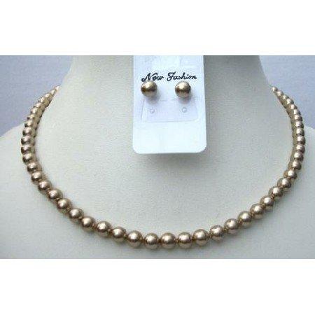 BRD345  Swarovski Bronze Necklace Set Stud Pearls Earrings 6mm Pearls Jewelry