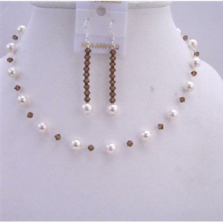 BRD610  Smoked Topaz Crystals w/ White Pearls Wedding Necklace & Earrings Jewelry Set