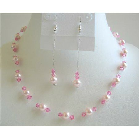 BRD637  Rose Pink Pearls Necklace Set w/ Rose Pink Crystals Bridemaides Wedding Jewelry Set