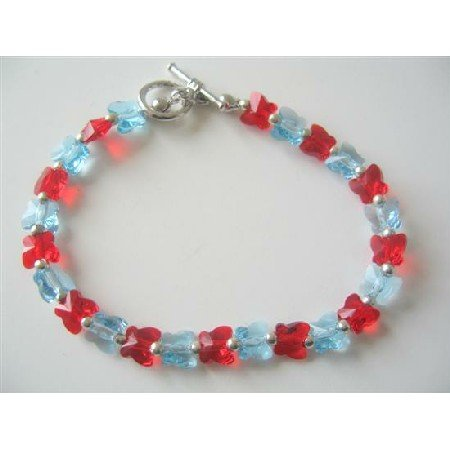 TB370  Aquamarine Siam Red Butterfly Swarovski Crystals Butterfly Handcrafted Custom Jewelry