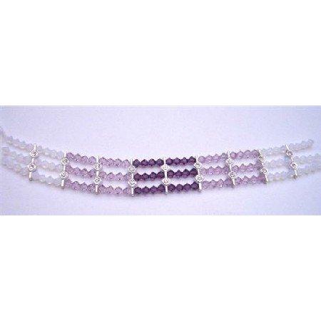 TB657  White Opal Swarovski Crystals Bracelet w/ Light & Dark Amethyst Crystals Bracelet
