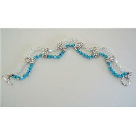 TB346 Swarovski Crystals  AB Turquoise And AB Crystals 2 Strands Bracelet w/ Cubic Zircon Embeded