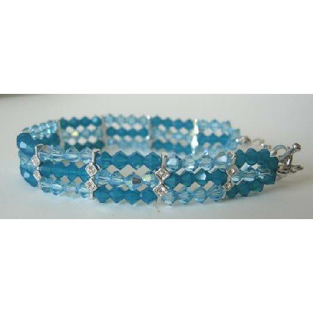 TB291 Swarovski Crystals Bracelet Swarovski Carribean Blue & AB Aquamarine Crystals