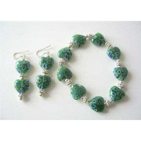 TB374  Heart Green Millefiori Venetian Glass Stretchable Bracelet w/ Sterling Silver Earrings