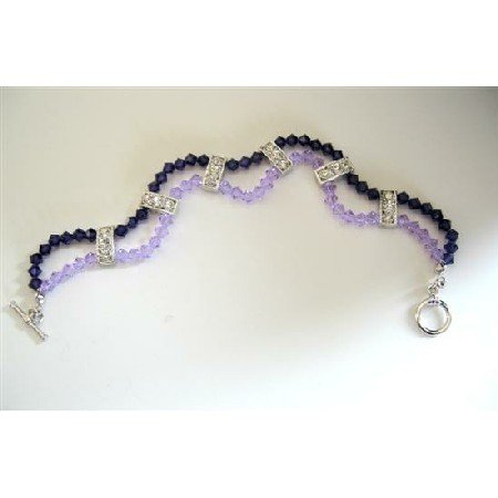 TB345  Swarovski Voilet And Purple Crystals 2 Strands Bracelet w/ Cubic Zircon Embeded
