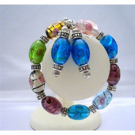TB327  Multi Murano Glass Stretchable Bracelet With Sterling Silver Earrings Jewelry