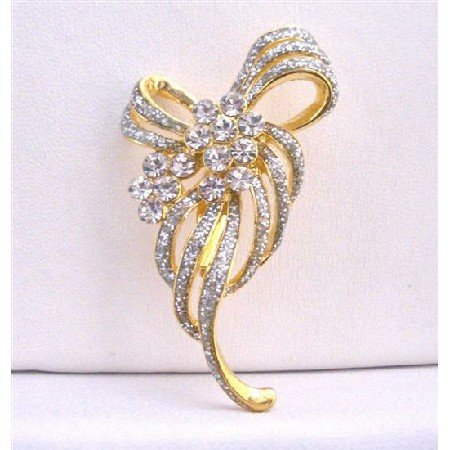 B214  GORGEOUS Gold Brooch Fully Encrusted w/ Cubic Zircon Dainty Brooch Affordable Brooch