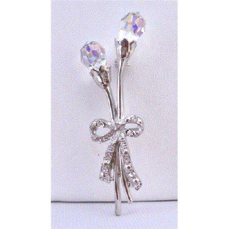 B276  AB Crystals Teardrop Brooch Tulip Brooch w/ LOng Stem & Bow Tulip Brooch