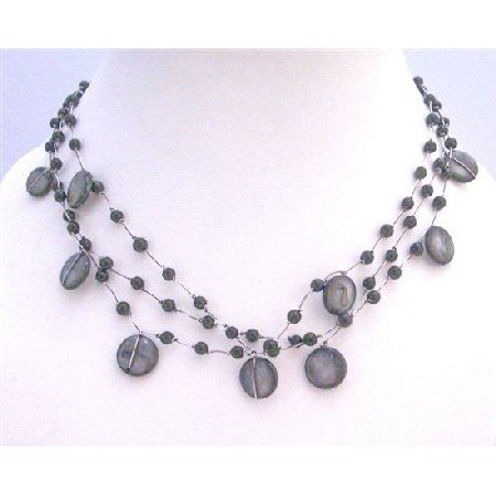 N303  Funky Striking Stunning Necklace Three Stranded Black Shell Black Beads Necklace