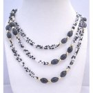 N321  Black White Lucite Beads Long Necklace w/ Gold Beads Spacer Long Necklace