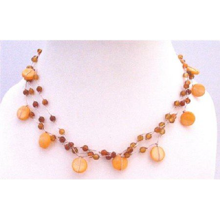 N800  Carnalian Shell Necklace Three Stranded Beautiful Carnalian Beads Shell Necklace