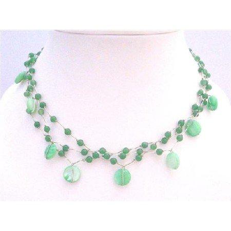 N308  Beautiful Jade Necklace Green Shell w/ Green Fancy Beads Choker Necklace