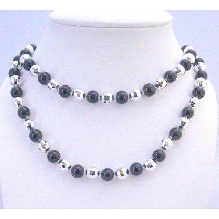 N328  Fancy Fashionable Beads Long Necklace Black Pearls Multifaceted Bead Long Necklace