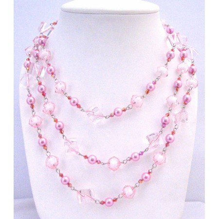 N327  Pink Beads Pearls Multi Sizes Trendy Bead Long Necklace